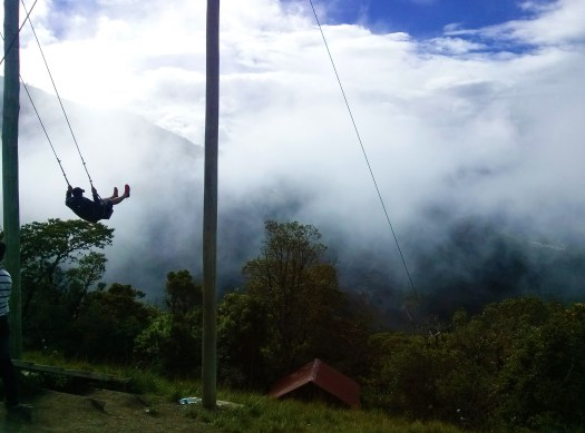 K in Motion Travel Blog. Amazingly Unique Adventures Around the World. Swing at the Edge of the World. Casa del Arbol, Banos, Ecuador