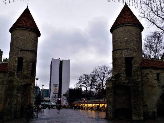 K in Motion Travel Blog. Discover old and New Tallinn. Viru Gate Looking Out to Modern Tallinn