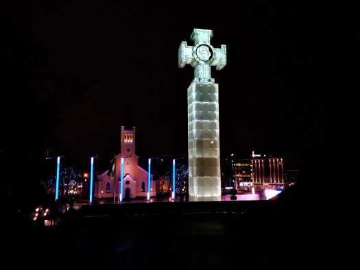 K in Motion Travel Blog. Discover old and New Tallinn. St John's Church in Freedom Square at Night