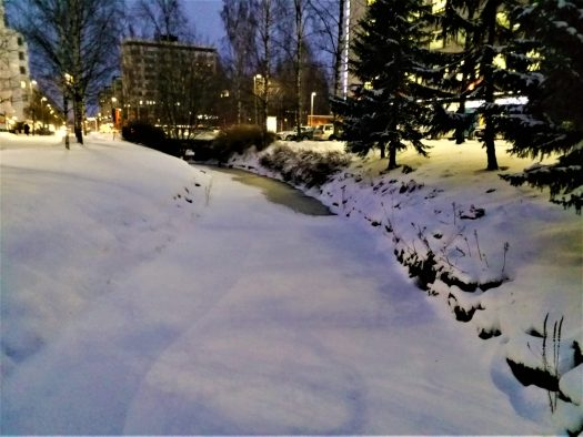K in Motion Travel Blog. Chasing the Aurora Borealis in Finnish Lapland. Snowed Over Canal