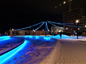 K in Motion Travel Blog. Chasing the Aurora Borealis in Finnish Lapland. Blue Lights in the City Centre