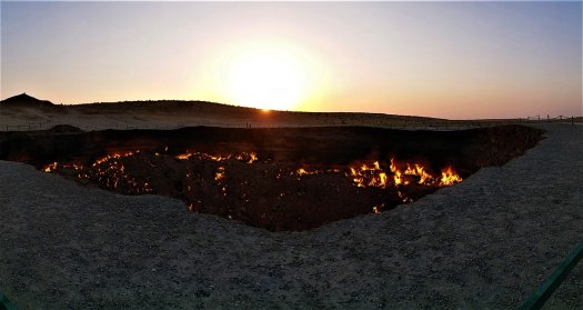 K in Motion Travel Blog. Around the World in Sunsets. The Gate to Hell, Darvaza Turkmenistan
