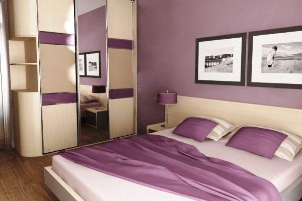 Camera da letto bianca viola. Decorazione della camera da ...