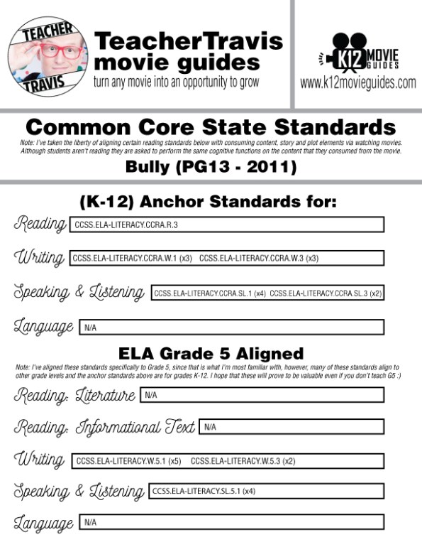 Bully Movie (Documentary) Guide | Questions | Worksheet (PG13 - 2011) CCSS Alignment