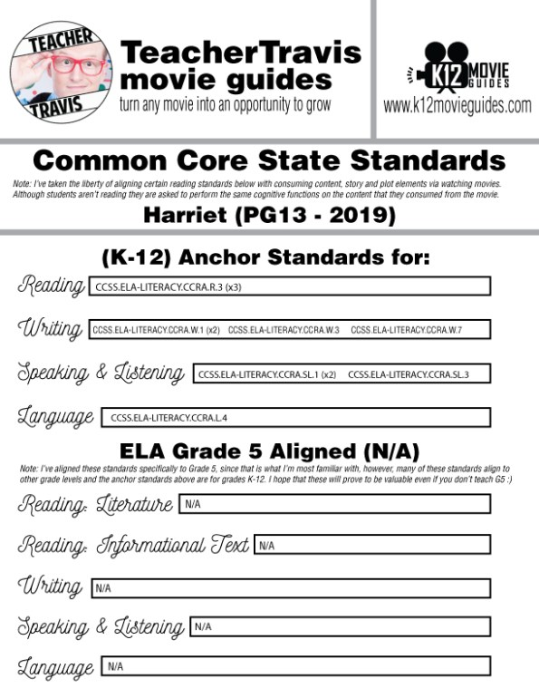 Harriet Movie Guide | Questions | Worksheet (PG13 - 2019) CCSS Alignment