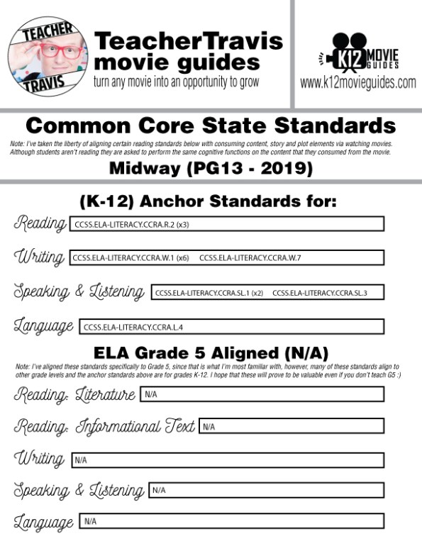 Midway Movie Guide | Questions | Worksheet (PG13 - 2019) CCSS Alignment
