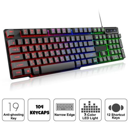 Wired Gaming Keyboard Mechanical Feeling Backlit LED 7 Color Keyboards USB 104 Keycaps Russian Keyboard Computer Game Keyboards