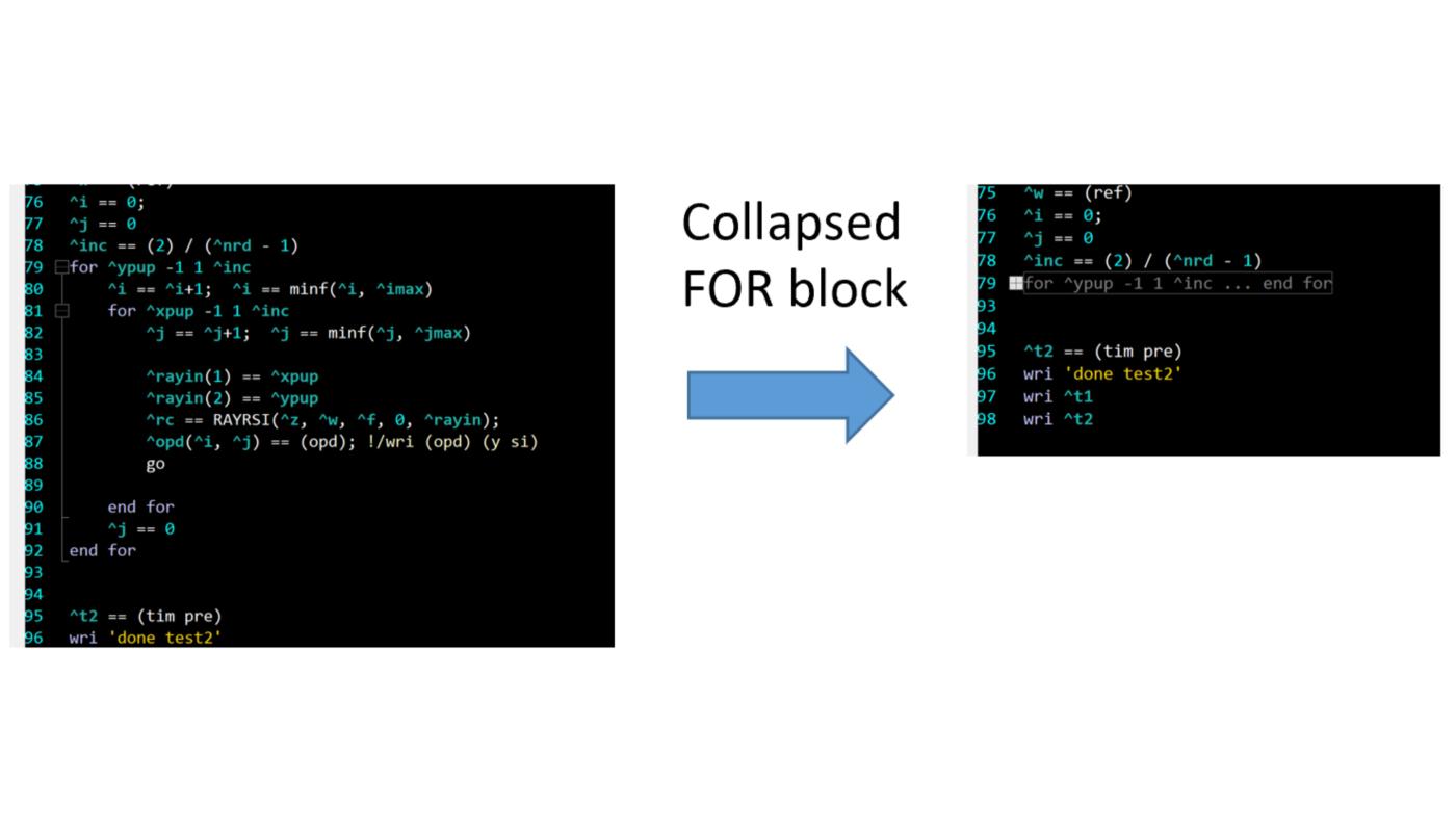 collapsed FOR block in CODE V editor