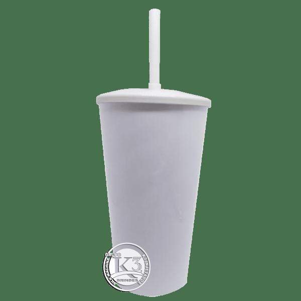 Copo Twister c/ tampa e canudo branco