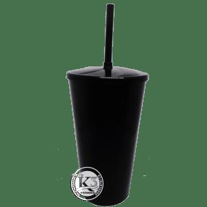 Copo Twister c/ tampa e canudo 500ml-Preto