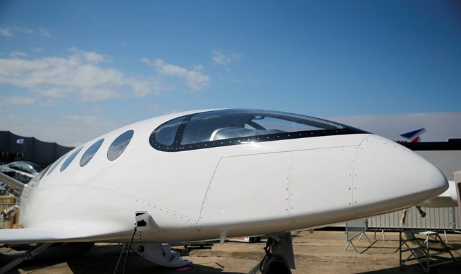 Israeli Eviation Alice electric aircraft is seen on static display, before the o