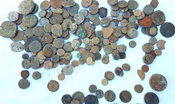 Some of the ancient coins found in the suspect's home