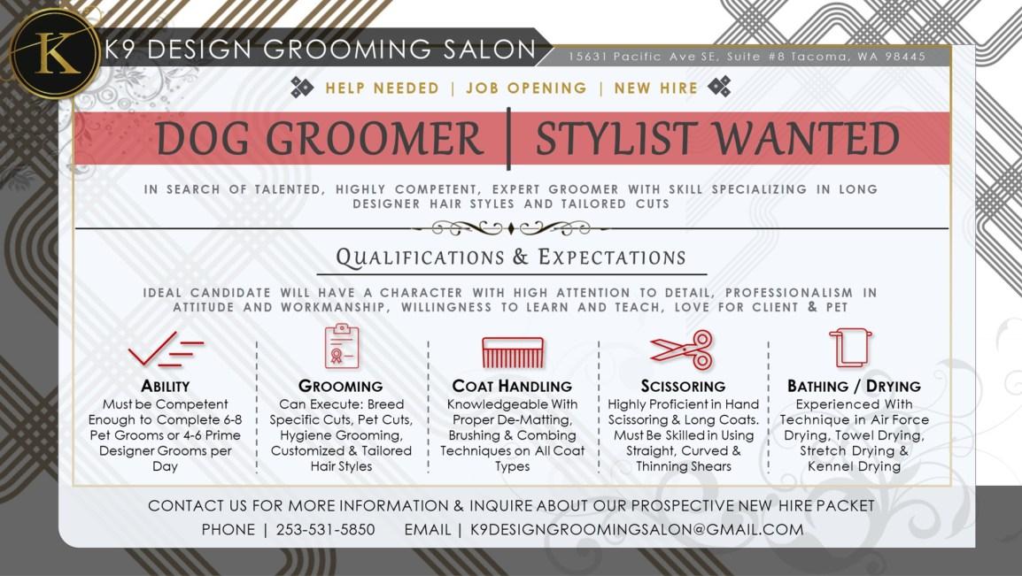 Dog Groomer Stylist Help Wanted Ad Flyer