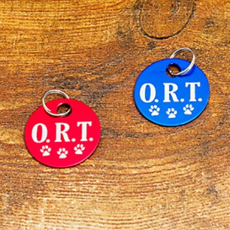 Red and Blue ORT Level Brag Tags