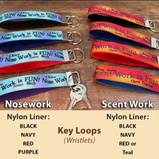 Nosework or Scent Work themed Key Loops sometimes called wristlets
