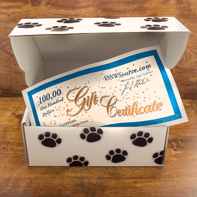 Oversized $100 Gift Certificate in Paw Print Box