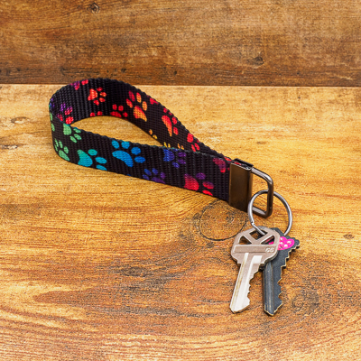 Black Nylon Key Loop with Vibrant Colored Paw Prints