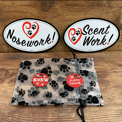 Heart Nosework -Scentwork Oval Car Magnets with Brag Tags