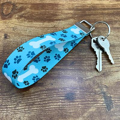 Key Loop- Blue Paw Prints and White Bones
