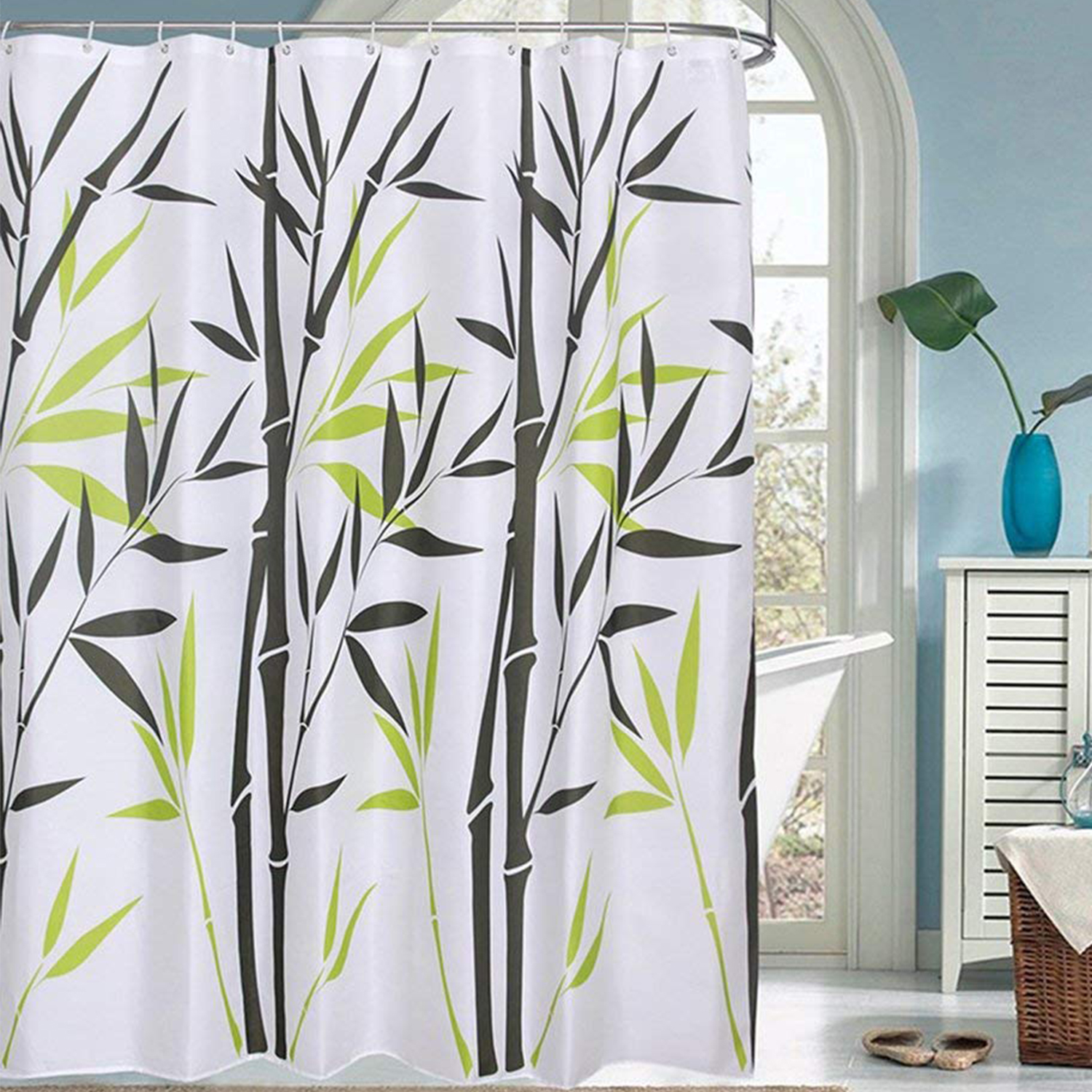 Details About Fabric Shower Curtain Waterproof Polyester Green Bamboo Bathroom Design 12 Hooks