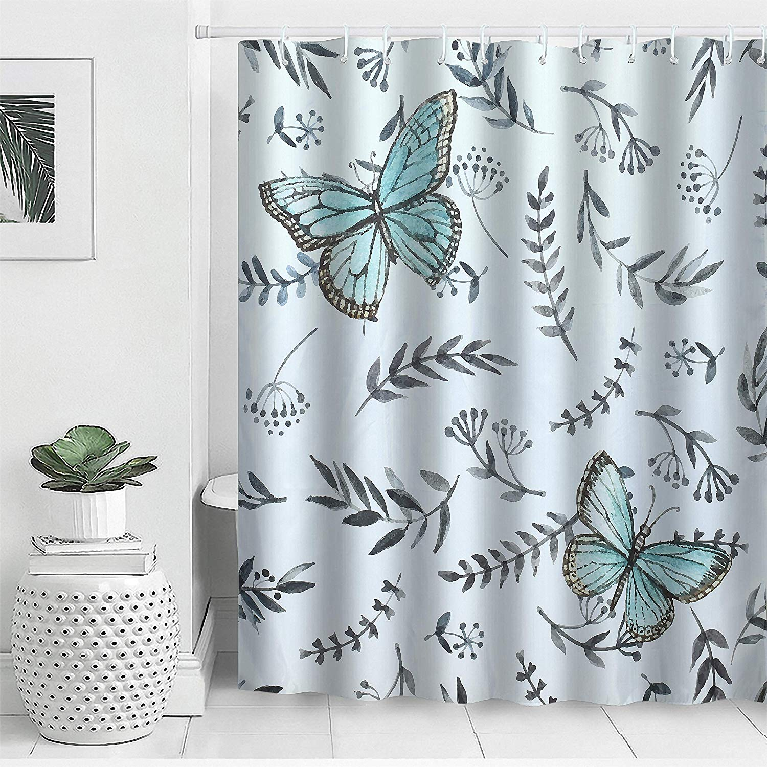 Details About Fabric Shower Curtain Waterproof Polyester Butterfly Bath Curtain Set With Hooks