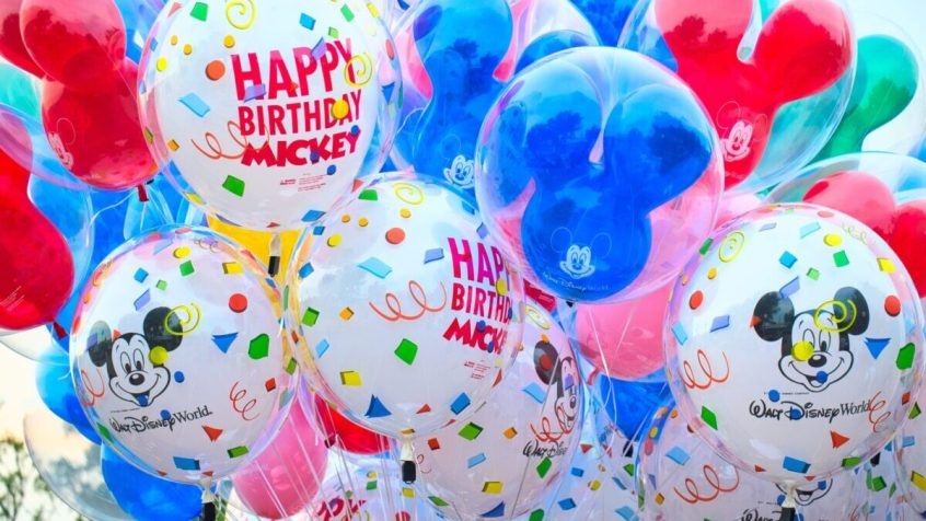 close photo of Mickey Mouse-themed balloons