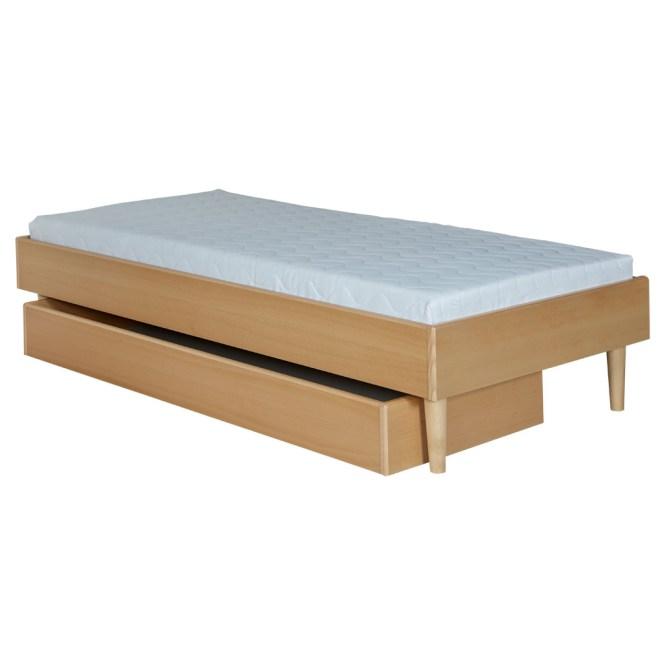 380 Beech 90 X 200 Cm Wooden Legs Fixed Bed Base No 510 Mattress 540 Linen Drawer 100 65 180