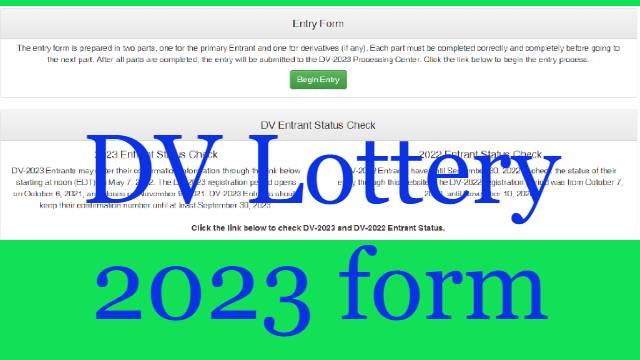DV Lottery 2023 form