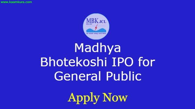 Madhya Bhotekoshi IPO for General Public