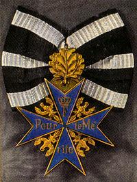 """Orden Pour le Merite (af amerikanere og andre uvidende kendt som """"the Blue Max"""") - den fornemst mulige hædersbevisning, som kun uheldige omstændigheder berøvede Gustav Dörr."""