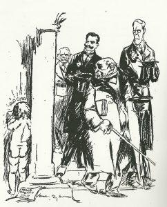 Tegning af Will Dyson, trykt i avisen Daily Herald den 17. maj 1919. De allierede ledere forlader fredsforhandlingerne i Spejlsalen i Versailles, efter at de uafvidende har skrevet drejebogen til resten af det 20. Århundrede. Udenfor døren står et grædende barn, der personificerer året 1940. Tegningen er næsten profetisk.
