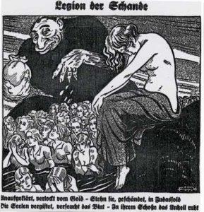 Nazistisk, anti-jødisk tegning fra Der Sturmer; den onde jøde klamrer sig til sine pengeposer, mens det arme, knækkede tyske folk slæber sig forbi i fortvivlelse, og Frk. Germania græder ved synet.