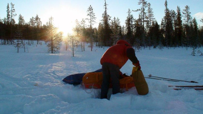 Morgenen etter første natten i telt. 12 km unna Jokkmokk.