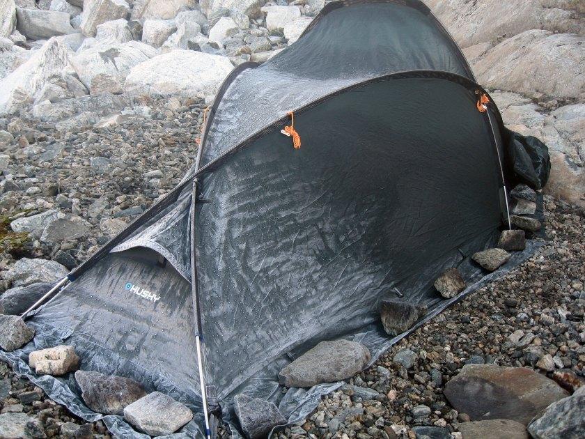 Rim på teltet om morgenen.