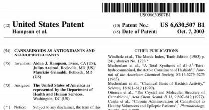 U.S Government Cannabinoids Patent No. 6630507