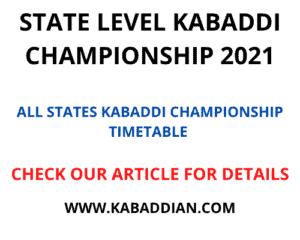 State level kabaddi championship 2021