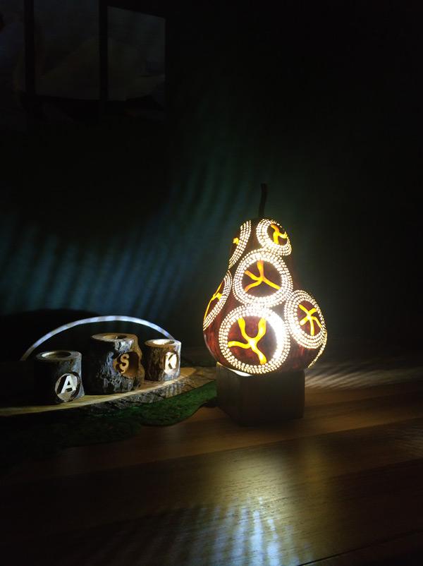 ışıklı dekoratif gece su kabağı lamba