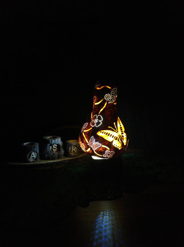 su kabağı otantik ışıklı kelebekli gece lambası