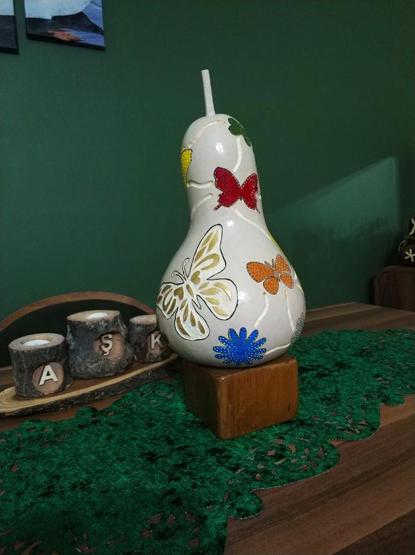 kelebek modeli su kabağı hediyelik lamba