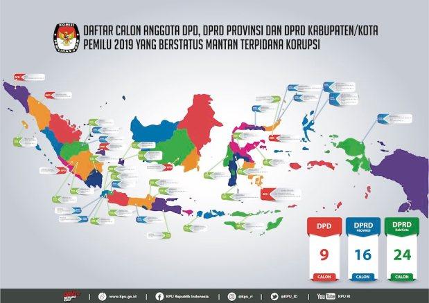 Peta KPU RI Umumkan 49 Caleg Mantan Terpidana Korupsi