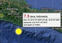 Gempa bumi 7,3 SR melanda Selatan Jawa