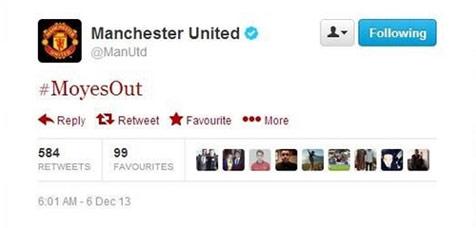 hashtag #MoyesOut yang sempat dirilis dari twiit resmi United, namun twitt tersebut telah dihapus.