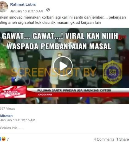 [SALAH] Video Puluhan Santri Pingsan Setelah Vaksin Covid-19 Sinovac