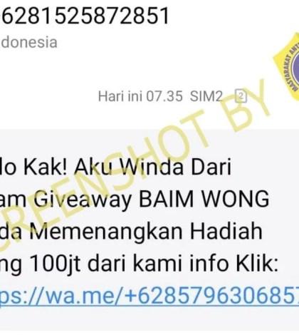 [SALAH] Baim Wong Adakan Giveaway Sebesar Rp100 Juta