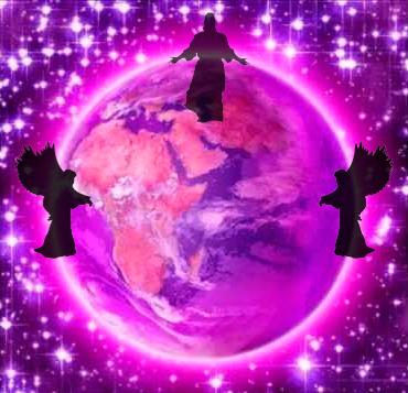 El mundo envuelto en violeta con Metatron, Sandalfon y Mashiah