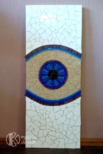 35x90cm,ceramic and mosaic tyles, perles, sand, ply base Ir pieejams.