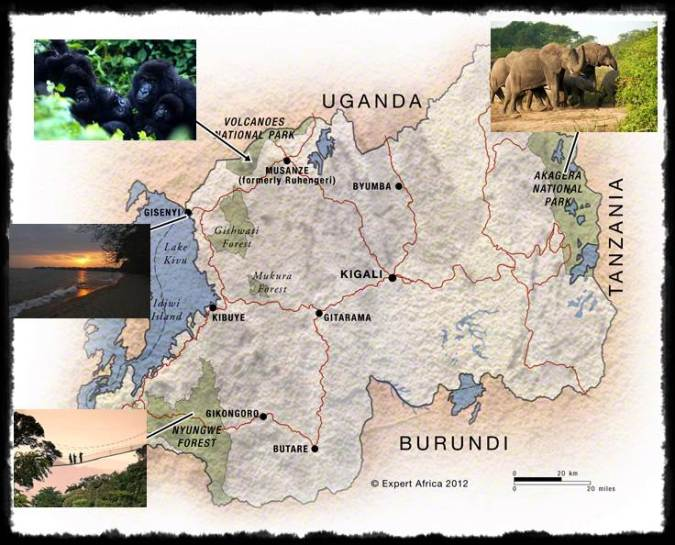 Map of Parks and Places in Rwanda