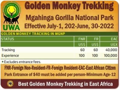 Uganda Wildlife Authority Tariffs–Activity Fees  July-2020- June -2022