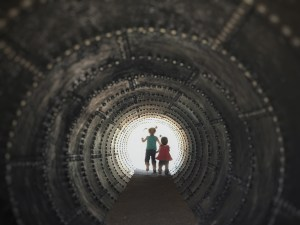 custom silhouette of girls in tunnel
