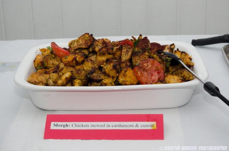 Kabultec 2016 benefit dinner. Morgh: Chicken stewed in cardamom & cumin